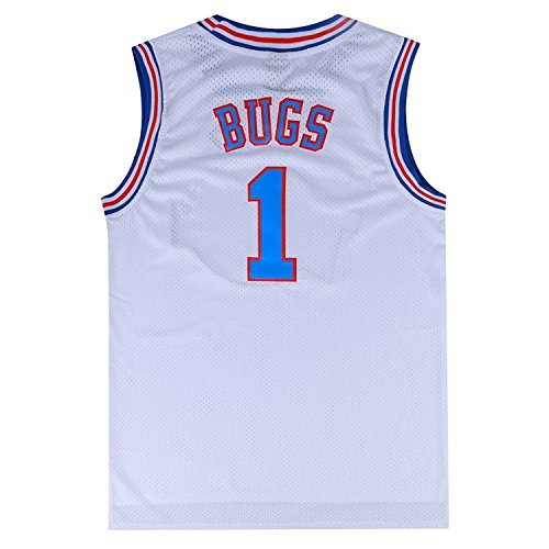 Mens Basketball Jersey Bugs Bunny #1 Space Jam Jersey White/Black (XXX-Large, White)