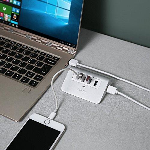 AUKEY Hub USB 3.0 4 Puertos Aluminio SuperSpeed 5Gbps con Cable USB 3.0 50cm y LED USB Data Hub para Apple MacBook, Macbook Air, Macbook Pro, iMac y Ordenador Portátil - Plata
