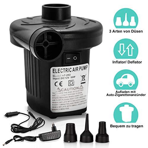 VINGO Elektrische Luftpumpe, Luft pumpen Inflate & Deflate 2 in 1, Elektropumpe mit 3 Luftdüse 230v/12v für aufblasbare Matratze, Schwimmring, Schlauchboote,Auto Luftmatratze