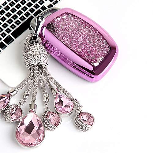 YSQQ Para TPU Quicksand Car Key Case para Hyundai MISTRA Elantra IX35 25 Nuevo Santafe Sonnt 9 Fashion Collocation Crystal Keyring,Llavero A-Pink