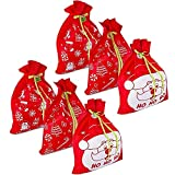 6 Giant Christmas Gift Bags 36' x 44' Reusable Made of Durable Fabric with Ribbon and Gift Tag for...