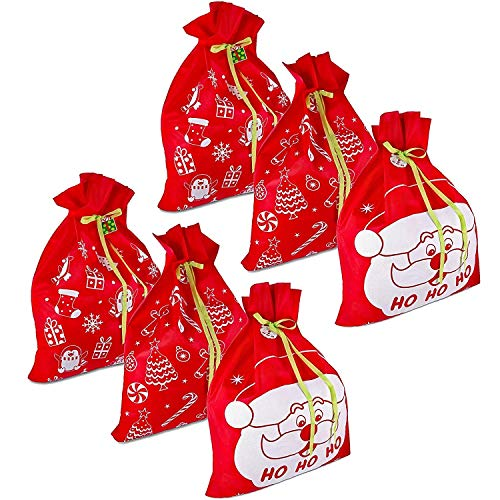 6 Giant Christmas Gift Bags 36' x 44' Reusable Made of Durable Fabric with Ribbon and Gift Tag for Holiday Wrapping Extra Large Jumbo Huge Oversized Toys Gift Bags by Gift Boutique