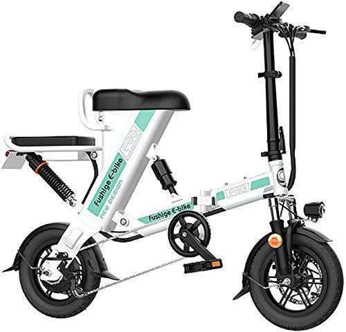 RDJM Bici electrica Bicicleta eléctrica Plegable, 12 Pulgadas, neumáticos Motor 240W, 36V 8-20Ah extraíble batería de Litio, Bicicleta Plegable portátil, 3 Modos de Trabajo