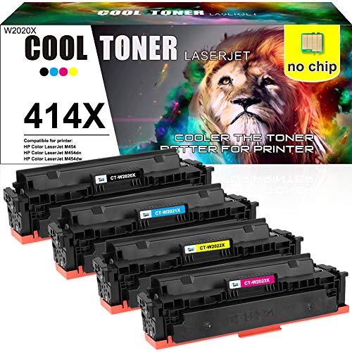 Cool Toner Compatible Toner Cartridge Replacement for HP 414X 414A W2020X W2021X W2022X W2023X HP Color Laserjet M454dw M454dn MFP M479fdw M479fdn Printer (Black Cyan Magenta Yellow, No-Chip, 4-Pack)