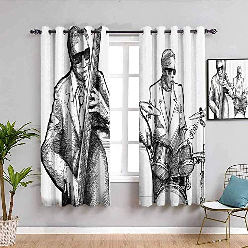 LWXBJX Opacas Cortinas Dormitorio - Blanco boceto Tambor música - Impresión 3D Aislantes de Frío y Calor 90% Opacas Cortinas - 140 x 160 cm - Salon Cocina Habitacion Niño Moderna Decorativa
