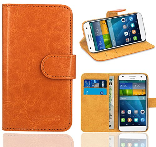 Huawei Ascend G7 Handy Tasche, FoneExpert® Wallet Hülle Flip Cover Hüllen Etui Ledertasche Lederhülle Premium Schutzhülle für Huawei Ascend G7 (Wallet Orange)