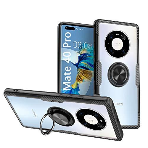 KONEE Hülle Kompatibel mit Huawei Mate 40 Pro, Transparente Handyhülle Mit 360 ° Verdrehbare Ring [ TPU + PC ], für Magnetischen Autohalterungen, Multifunktions Abdeckung für Huawei Mate 40 Pro