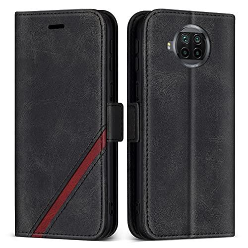 KKEIKO Hülle für Xiaomi MI 10T Lite 5G, PU Leder Magnet Schutzhülle mit Kartenfächer & Ständer, Stoßfest Brieftasche Klapphülle für Xiaomi MI 10T Lite 5G, Schwarz