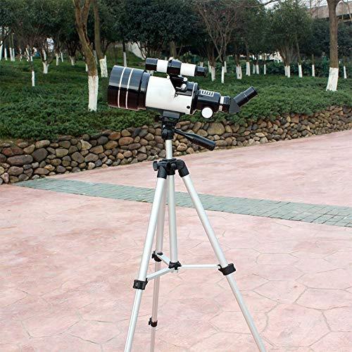 WHEEJE Zoom profesional Telescopio astronómico de alta calidad y definición Telescopio monocular Visión nocturna Refracción Espacio profundo Luna (Color : White)