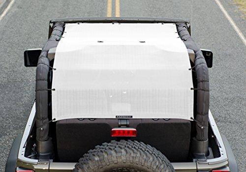 ALIEN SUNSHADE Jeep Wrangler JK (2007-2018) Extra Long Full Length Sun Shade Mesh Top Cover (White) – 10 Year Warranty - Blocks UV, Wind, Noise