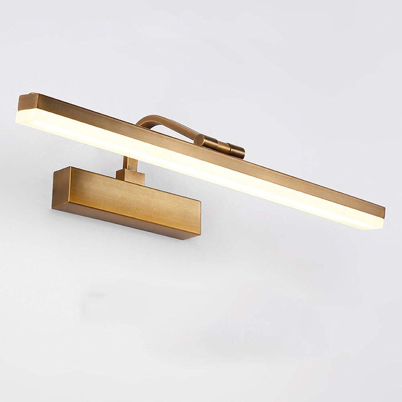 SXFYWYM LED Spiegellicht-Bathroom Beleuchtung Adjustable Winkel Kupfer Spiegel Schrank Lampen Wand-Lampe Umkleidekabine Beleuchtung,Brass,41cm