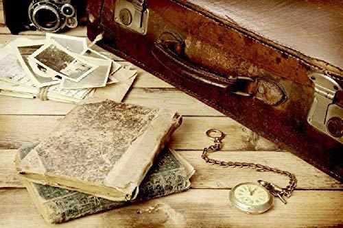 Puzzles personalizados 1000 piezas con foto y texto Máxima calidad de impresión Tamaño: 1000 piezas Maleta vieja y libros sobre la mesa