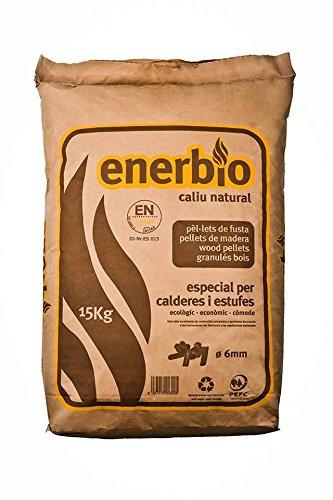 Enerbío; Saco papel de pellets 15 kg. Certificado ENPlusA1. Para estufas y...
