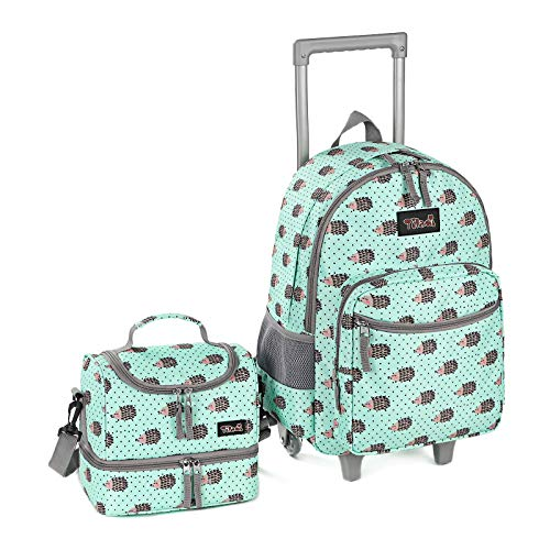Rolling Backpack 18 inch Double Handle with Lunch Bag Wheeled Kids Backpack, Hedgehog