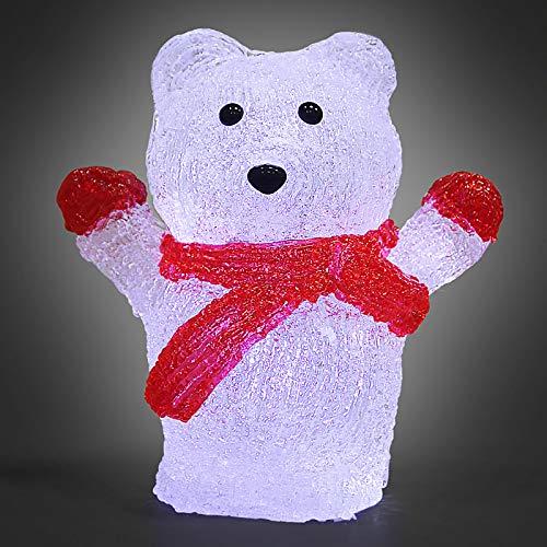 Deuba LED Acryl Figur Weihnachtsdeko Eisbär beleuchtet Weihnachten Deko Indoor Outdoor Weihnachtsfiguren