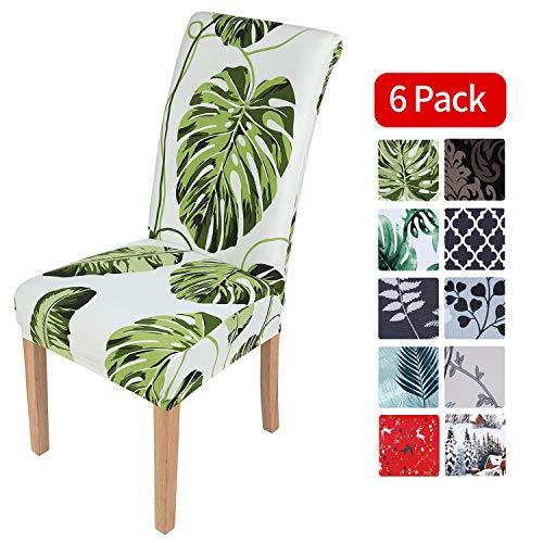Homaxy Stretch Stuhlhussen Blumen Universal Hussen für Stuhl Esszimmer Waschbare Stuhlbezüge (6 Stück, Style 2)