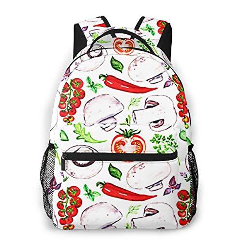 Laptop Rucksack Schulrucksack Champignon Tomaten Pfeffer Kulinarisch, 14 Zoll Reise Daypack Wasserdicht für Arbeit Business Schule Männer Frauen