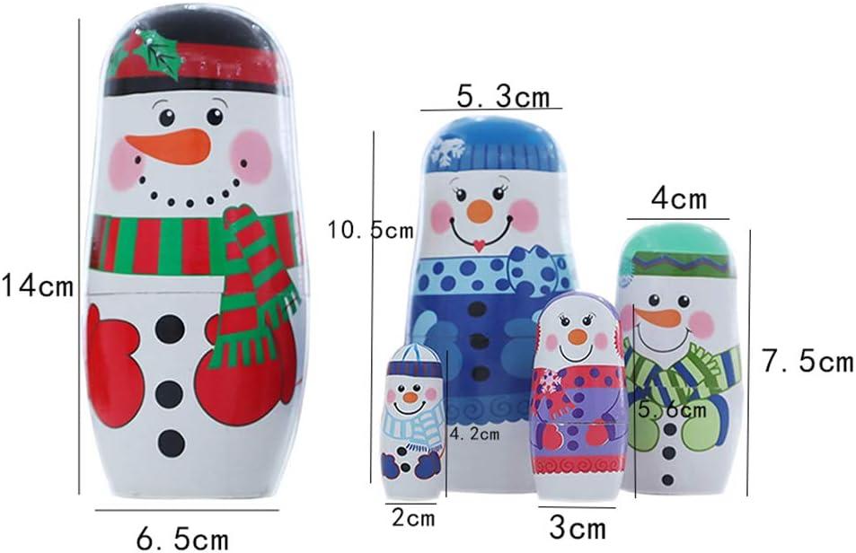 EHLIE Handmade Wooden Russian Nesting Dolls Santa Claus Matryoshka Dolls Gift for Christmas Home Decor,Color snowman