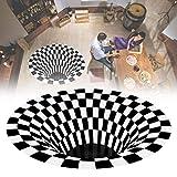 3D Round Area Rugs Non Slip Vortex Optical Illusion Rug with Black White Plaid Decorative Polyester Floor Doormat for Indoor Outdoor(31.5x31.5)