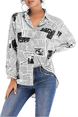 Damen Bluse Hemd Langarm T-Shirt Top Taste Unten Hemden Frühling 2019 Zeitung Gedruckt schwarz M