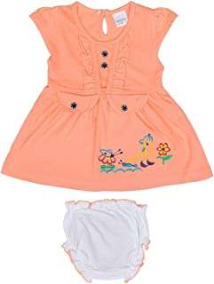 Hopscotch Baby Girls Cotton Short Sleeves Animal Embroidery Dress with Bloomer in Orange Color