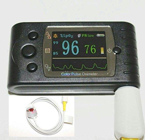 """ArmoLine - Oxímetro de pulso de mano con variaciones """"bebé-adulto-recién nacido"""" Mediciones en tiempo real pantalla grande a color - sonda externa SpO2 (niño)"""