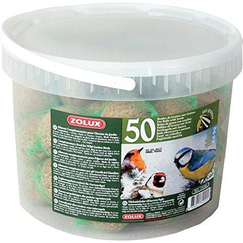 Zolux Boules de Graisse Seau de 50 pièces Aliment pour Oiseaux, Multicolore, Unique