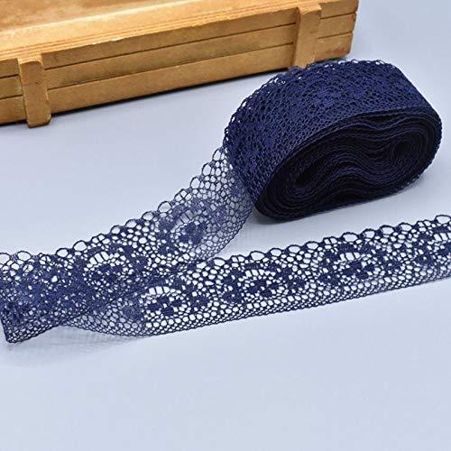 Suppyfly 10 Yards - Cinta de poliéster con puntas, no elástica, diseño de flores, azul marino, 1