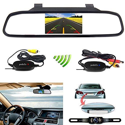 """podofo 4.3\""""Auto-TFT-LCD-Spiegel-Monitor Wireless-Reverse-Auto-hintere Ansicht-Unterstützungskamera -Kit"""