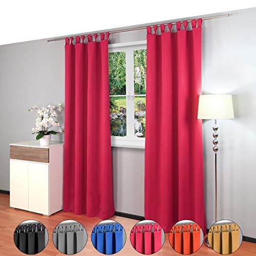 2 piezas Gräfenstayn® Alana - cortina térmica opaca monocromática que oscurece la cortina con bucles - Paquete Doble - 135 x 245 cm (ancho x alto) - muchos colores atractivos (Baya)