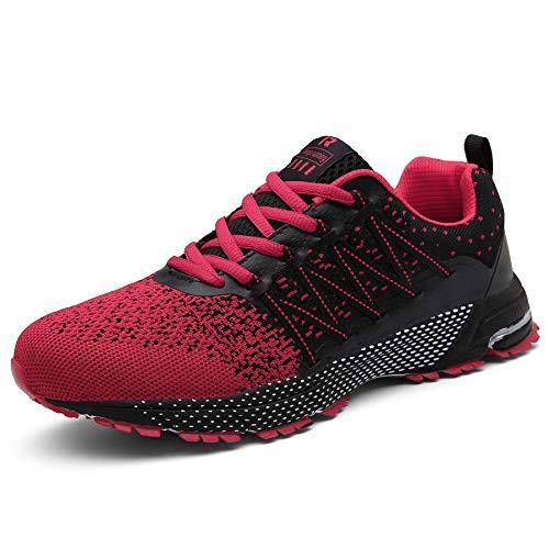 SOLLOMENSI Zapatillas Hombres Deporte Running Zapatos para Correr Gimnasio Sneakers Deportivas Padel Transpirables Casual Montaña 44 EU A Rojo