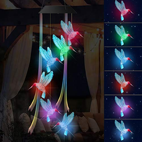 JOOKKI LED Solar Hummingbird Wind Chime with Ribbon, Color Changing Lights, Glowing Wind Chimes, Outdoor Solar Lights, Wind Chime for mom, Decor Home Garden Patio Yard Indoor