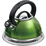 Creative Home Alexa 3.0 Quart Stainless Steel Whistling Tea Kettle with Aluminum Capsulated Bottom for Even Heat Distribution, Metallic Chartreuse