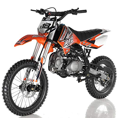 125cc Dirt Bike Pit Bike Adults Dirtbikes Pitbikes 125 Dirt Pit Bike with Gloves, Goggle and Handgrip (Orange)
