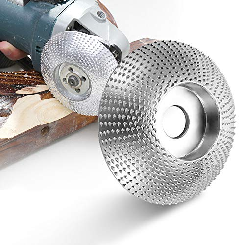Grinder Shaping Disc Wood Angle Grinder,5/8 Inch Bore Tungsten Carbide Woodworking Angle Grinder Attachment for Sanding Carving Shaping Polishing (Disc)