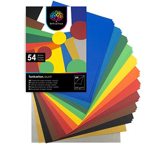 OfficeTree 54 Papel de Color A4-220g/m² niños cartulina para para hacer manualidades, diseñar - 10 tonos de color y lazos de oro y plata 130g/m²