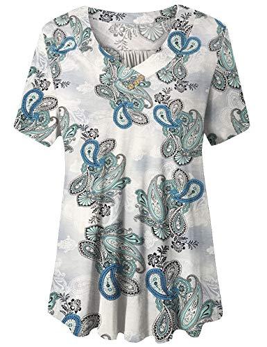 FOLUNSI Women's Plus Size Short Sleeve V Neck Swing Floral Tunic Tops (Blue Flower, 2X Plus)