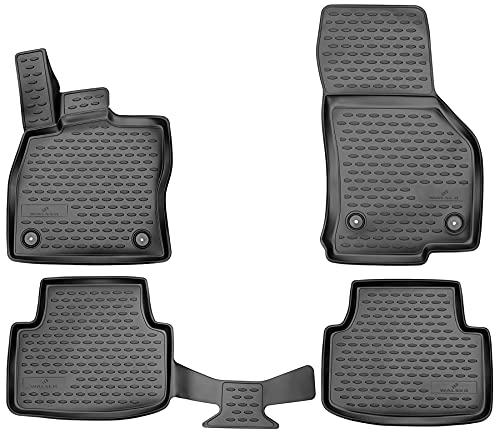 Walser XTR Gummifußmatten kompatibel mit Skoda Octavia III (5E) Baujahr 11/2012 - Heute, passgenaue Auto Gummimatten, Autofußmatten Gummi