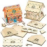 Baker Ross AX364 Portavelas De Madera Casa De Hombre De Pan De Jengibre - Paquete De 3, Para Decorar Y Exhibir, Decoraciones Navideñas, Proyecto Ideal De Manualidades Para Niños