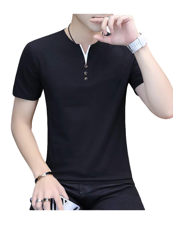 上流の高架エコー[サン ブローゼ] tシャツ 半袖 フェイクボタン ヘンリーネック カジュアル トップス シャツ 夏 M ~ XL メンズ