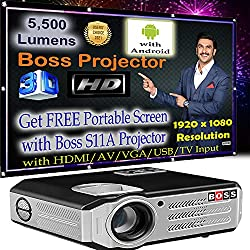 Boss S11A Android Full HD Office, Home, Education Institute Purpose Projector 5500 Lumens 1920X1080 200