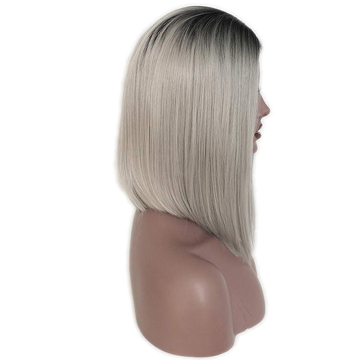 スカートハンディコート女性フルレースかつらストレートグルーレス合成と赤ちゃんの髪フルヘッドヘアウィッグ130%密度グレーグラデーション14インチ