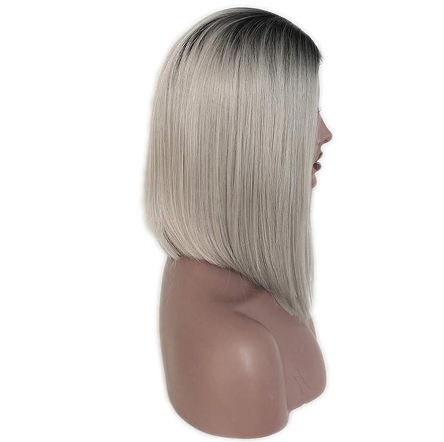 やろう有名人愛情深い女性フルレースかつらストレートグルーレス合成と赤ちゃんの髪フルヘッドヘアウィッグ130%密度グレーグラデーション14インチ