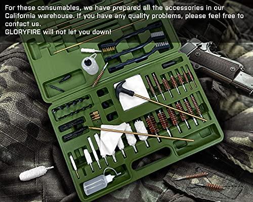 GLORYFIRE Universal Gun Cleaning Kit Hunting Handgun Shot Gun Cleaning Kit for All Guns with Case Travel Size Portable Metal Brushes