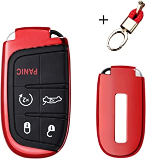 MAXMILO Soft TPU Case Cover Protector Case for Jeep Key Fob, Car Remote Key Fob Case for Jeep Grand Cherokee Renegade Fob Remote Key+Keychain (red)