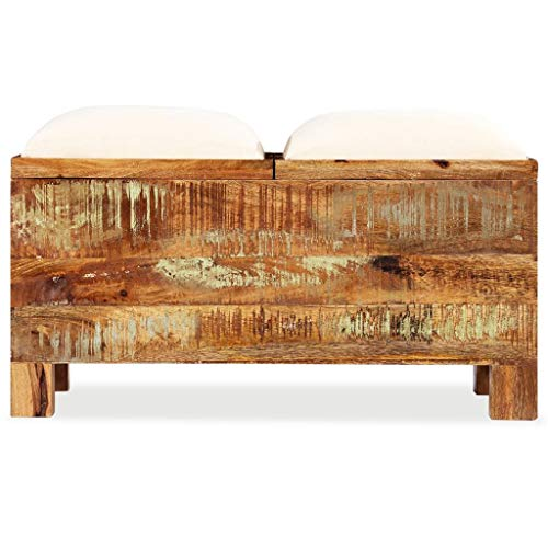 vidaXL Sitzbank mit Stauraum Recyclingholz Massiv Sitztruhe Truhe Hocker Bank - 3