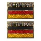 Reflektierender Aufnäher mit Deutschland-Flagge, bestickt, leuchtendes & charmantes Emblem, zum Aufbügeln oder Aufnähen (b)