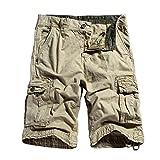 OCHENTA Men's Cotton Casual Loose Fit Cargo Shorts #3229 Khaki 34