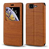 Wiko Highway 4G Case, Wood Grain Leather Case with Card