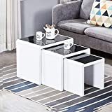 AINPECCA Nest of Tables Black High Gloss Nesting Tables with Tempered Glass Top Coffee Tables 3 Pieces End Table Set (White and Black)
